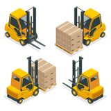 Isometric vector Compact Forklift Trucks isolated on white. Storage equipment icon set. Forklifts in various. Combinations, storage racks, pallets with goods Royalty Free Stock Photos