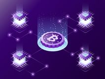 Cryptocurrency mining isometric vector concept. Stock Image