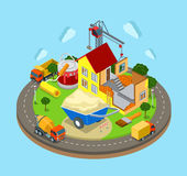Isometric vector construction industry: building process, house Royalty Free Stock Image