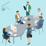Isometric vector coworking. Isometric 3d flat design vector coworking   office. Standing and sitting business people different characters, styles and Royalty Free Stock Photo