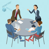 Isometric vector coworking. Isometric 3d flat design vector coworking   office. Standing and sitting business people different characters, styles and Stock Photos