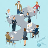 Isometric vector coworking. Isometric 3d flat design vector coworking   office. Standing and sitting business people different characters, styles and Stock Photo