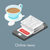 Isometric vector 3d illustration of online news. Cup of coffee and a smartphone Royalty Free Stock Photography