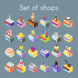 Isometric vector 3d illustration of shops. Royalty Free Stock Image