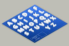 Isometric vector font alphabet on top plane Royalty Free Stock Image