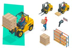 Isometric vector forklift truck isolated on white. Storage equipment icon set. Forklifts in various combinations. Barcode, storage racks, pallets with goods Royalty Free Stock Photo