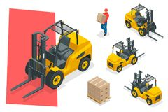 Isometric vector forklift truck isolated on white. Storage equipment icon set. Forklifts in various combinations Royalty Free Stock Images