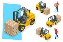 Isometric vector forklift truck isolated on white. Storage equipment icon set. Forklifts in various combinations Royalty Free Stock Photography