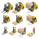 Isometric vector forklift truck isolated on white. Storage equipment icon set. Forklifts in various combinations. Storage racks, pallets with goods for Stock Photo