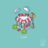 Isometric vector icon cafe on a blue background Stock Photo