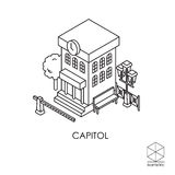 Isometric vector icon city hall  on a white background. Isometric vector icon city hall Stock Image