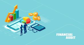 Isometric vector illustration of businesspeople analyzing corporate fianncial report and profits royalty free illustration