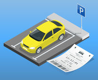 Isometric vector illustration Car in the parking lot and Parking tickets. Flat illustration icon for web. Urban Stock Photo