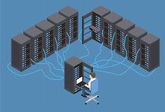 Isometric Vector Illustration diagnostic test in a server computer room.  Royalty Free Stock Photo