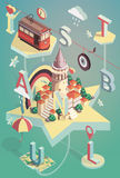 Isometric vector illustration istanbul poster Stock Image