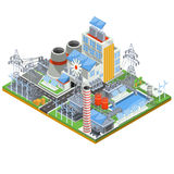 Isometric Vector Illustration Of A Thermal Thermal Power Plant Running On Alternative Sources Of Energy. Stock Photo