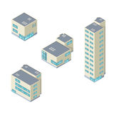 Isometric vector illustration office buildings icon set. Corporate modern isometric office building internet icons Stock Photos