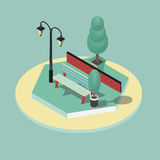 Isometric vector illustration of park scene. 3d isometric vector illustration of park scene Stock Image