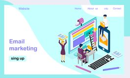 Isometric vector landing page template for e-mail marketing royalty free illustration
