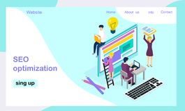 Isometric vector landing page template royalty free illustration