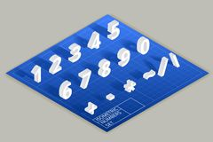 Isometric vector numbers set. Mathematical figure numeric illustration, modern style typography Royalty Free Stock Photo