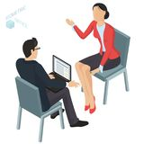 Isometric  vector  office. Isometric 3d flat design vector  office. Corporate teamwork  working business process. Man and woman communication illustration for Royalty Free Stock Image