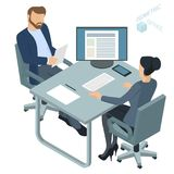 Isometric  vector  office. Isometric 3d flat design vector  office. Corporate teamwork  working business process. Man and woman communication illustration for Royalty Free Stock Images