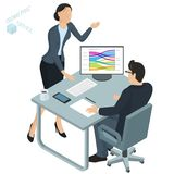 Isometric vector  office. Isometric 3d flat design vector  office. Corporate teamwork  working business process. Man and woman communication illustration for Stock Images