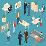 Isometric  vector  office. Isometric 3d flat design vector  office. Standing and sitting business people different characters, styles and professions. Isometric Stock Photography