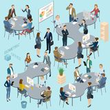 Isometric  vector  office. Isometric 3d flat design vector  office. Standing and sitting business people diverse characters, styles and professions. Isometric Stock Photography