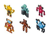 Isometric vector robot toys on white background Stock Photo