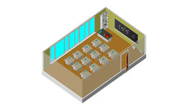 Isometric vector school class. School equipment Stock Photo