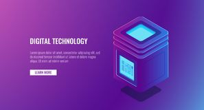Isometric vector server room, personal data protection concept, big data processing, database icon, cloud storage. Hosting solution Stock Image