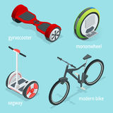 Isometric vector set of Alternative Eco Transport isolated on a blue background. Segway, Monowheel or Solowheel Royalty Free Stock Photography