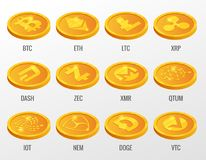 Isometric Vector set of Cryptocurrency gold coins with Bitcoin, ETH, LTC, XRP, DASH, ZEC, XMR, QTUM, IOT, NEN, DOGE, VTC stock illustration