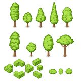 Isometric vector set of park plants, trees and bushes Stock Photography