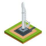 Isometric vector space rocket  on white the two-stage-to-orbit rocket spaceship on starting platform Royalty Free Stock Photos
