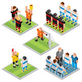 Isometric Vector Sport. Set 3D Design Soccer Icons. Isometric Vector Sport. Set of 3D Design Soccer Game Icons Stock Photography