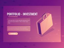 Isometric vector suitcase, portfolio investment and finance, abstract background 3d. Isometric vector suitcase, portfolio investment and finance, abstract Royalty Free Stock Image