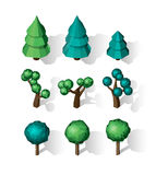 Isometric vector tree set. Landscape constructor kit. Different trees for make design. Low poly spruce, apple, decorative shrub, linden, maple, pine and Stock Photo