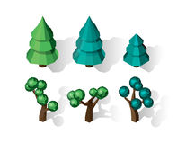 Isometric vector tree set. Landscape constructor kit. Different trees for make design. Low poly spruce, apple, decorative shrub, linden, maple, pine and Stock Images