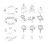Isometric vector tree set. Landscape constructor kit. Different trees for make design. Low poly spruce, apple, decorative shrub, linden, maple, pine and Royalty Free Stock Images