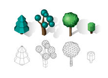 Isometric vector tree set. Landscape constructor kit. Different trees for make design. Low poly spruce, apple, decorative shrub, linden, maple, pine and Stock Photos