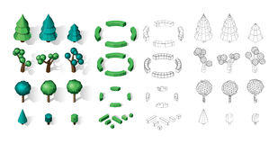 Isometric vector tree set. Landscape constructor kit. Different trees for make design. Low poly spruce, apple, decorative shrub, linden, maple, pine and Stock Photography