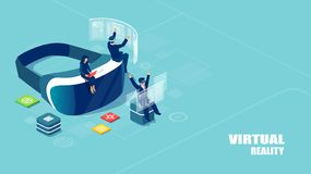 Isometric vector of virtual reality headset with people studying and entertaining. Augmented technology concept. Isometric vector of virtual reality headset with royalty free illustration