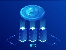 Isometric Vertcoin VTC Cryptocurrency mining farm. Blockchain technology, cryptocurrency and a digital payment network royalty free illustration