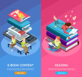 Isometric Vertical Reading Banner Set. Two colored isometric vertical reading banner set with e book content and reading descriptions vector illustration royalty free illustration