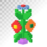 Isometric vew flower stable pixel art vector icon. 3d isometric vew flower stable pixel art vector icon. Flower bricks construction flower. Game art square Stock Image