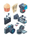 Isometric video cameras. Tools for video production. Vector clapboard and ticket illustration Stock Photography