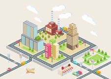 Isometric view, a big city Royalty Free Stock Photo